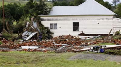 The remains of two houses swept away during flooding in Dungog in the NSW Hunter region. (AAP)