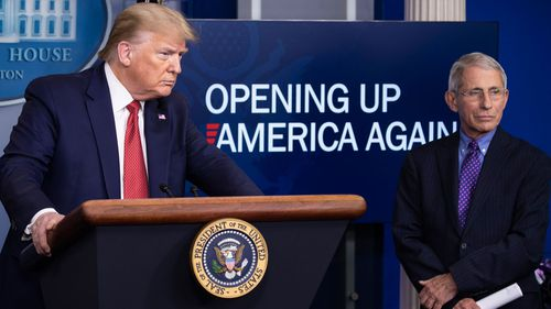 President Donald Trump speaks about the coronavirus, accompanied by Dr. Anthony Fauci in April