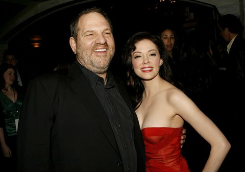 Harvey Weinstein and actress Rose McGowan arrive to the premiere of 'Grindhouse' at the Orpheum Theatre in Los Angeles, California, 2007. McGowan was one of the first victims to go on the record about Weinstein's abuse.
