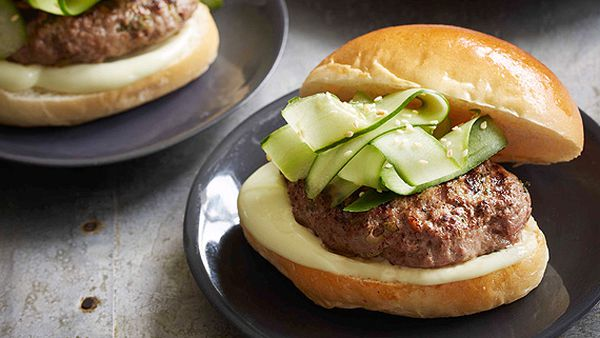 Miso beef burgers with wasabi mayonnaise