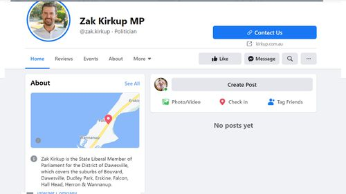WA MP Zak Kirkup's page has been removed by Facebook