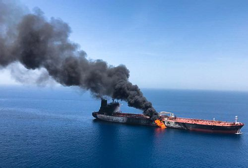 The crude oil tanker Front Altair on fire in the Gulf of Oman, 13 June 2019.