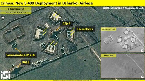 Satellite image by ImageSat International shows build up of S-400 missile battery between April and December 2018.