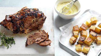 Greek roast lamb with skordalia and potatoes