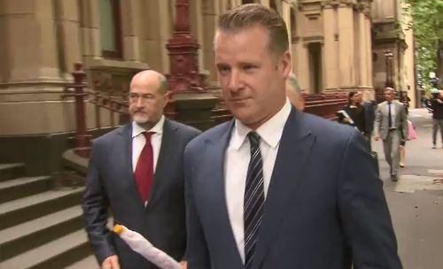 Simon Pristel, pictured above, attended court today with newsreader Peter Mitchell. (9NEWS)