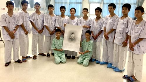 The boys sketched a tribute to the Thai diver who died during the mission. Picture: Supplied
