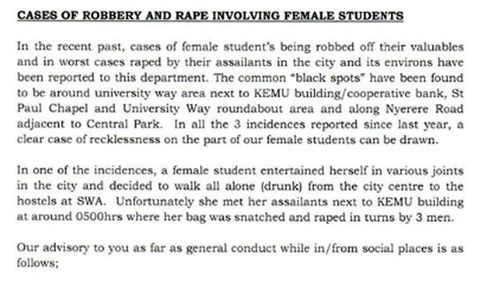 The memo sent by the University of Nairobi to all students.