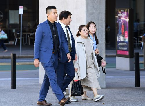 Family members of murdered Korean student Eunji Ban arrive at court this morning. Picture: AAP