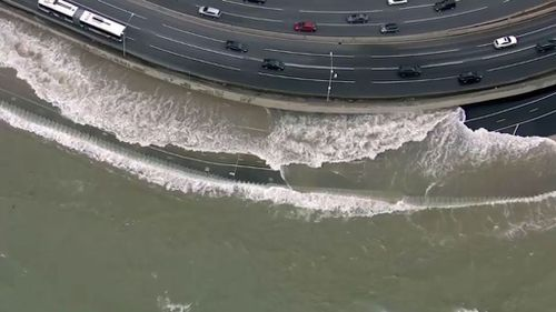 Lakeside walkways and roads were closed as a result of the wild weather. (ABC-7 Chicago)