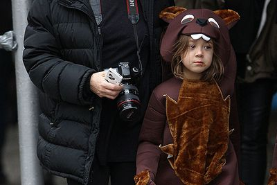 Ava Jackman seen out with her mom Deborra-Lee Furness dressed as a brown bear on Halloween. By the looks of her chocolate-smudged face, her trick-or-treating efforts have been a success.