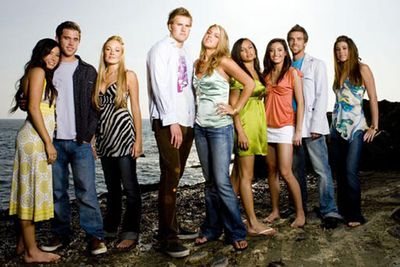 """<B>The beach:</B> Laguna Beach (der).<br/><br/>Produced thanks to the popularity of teen drama <I>The O.C.</I>, <I>Laguna Beach</I> was a reality show that followed the lives of several wealthy teenagers living on the beach in Orange County. It was axed after three seasons, though its leading lady Lauren """"L.C."""" Conrad went on to star in <I>The Hills</I>."""