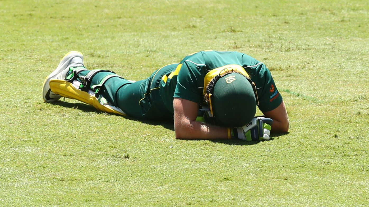 Will Pucovski of Australia XI falls during the tour match