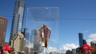 The 2014 Premiership cup carried through the Grand Final parade in Melbourne. (Getty Images)