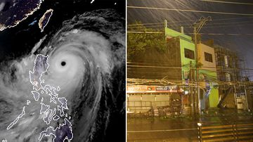 Typhoon Mangkhut slammed into the country's north-eastern coast early this morning.