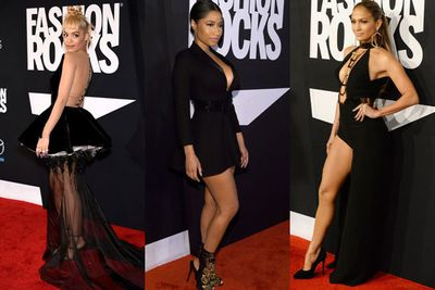 It's all about the sexy black dress at this year's <i>Fashion Rocks</i> event in New York. <br/><br/>From Nicki Minaj's daring mini to JLo's thigh-flashing number, celebs looked a million bucks at the Fashion Week event. <br/><br/>Click through to see what they wore! <br/>