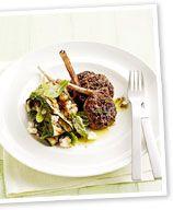 Lamb cutlets with zucchini, mint and fetta salad