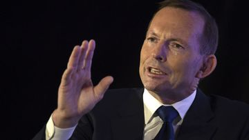 Tony Abbott during a question and answer session in Singapore. (AAP)