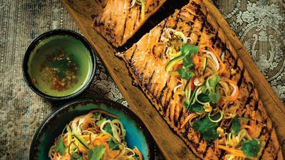 """<a href=""""http://kitchen.nine.com.au/2017/02/16/22/12/chargrilled-salmon-with-hot-and-sour-dressing-and-pickled-vegetable-salad"""" target=""""_top"""">Chargrilled salmon with hot and sour dressing and pickled vegetable salad</a><br /> <br /> <a href=""""http://kitchen.nine.com.au/2016/06/06/22/53/salmon-recipes-to-fall-in-love-with"""" target=""""_top"""">More salmon recipes</a>"""