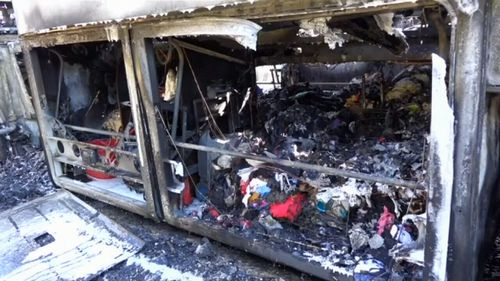 The bus passenger's possessions were also destroyed in the blaze. (9NEWS)
