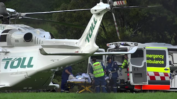 A man in his 40s was airlifted to St George Hospital after having his leg severed by a runaway truck in Port Kembla.