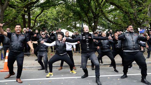 Members of the Tu Tangata motorcycle club perform a haka outside the Al Noor mosque in Christchurch, New Zealand