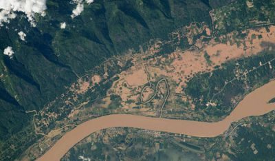 The Mekong River floodplain, on the Thailand and Laos border. Image taken August 8.