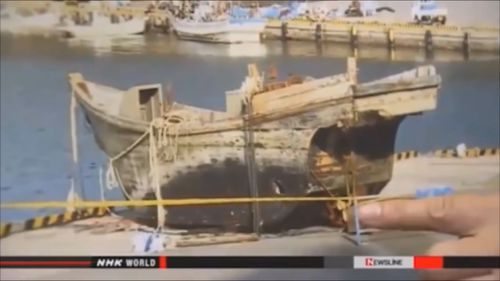"A beached ""ghost ship"". (NHK)"