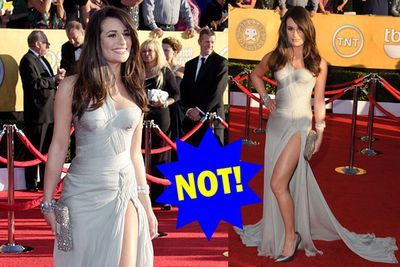 Of course she looks hot, but if that slit goes any further...