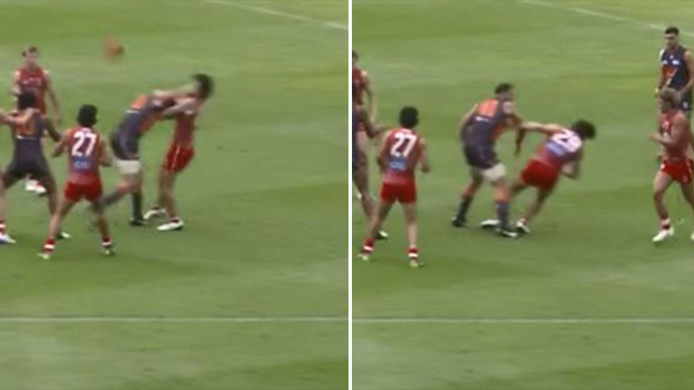 Shane Mumford in hot water after high hit in GWS practice match