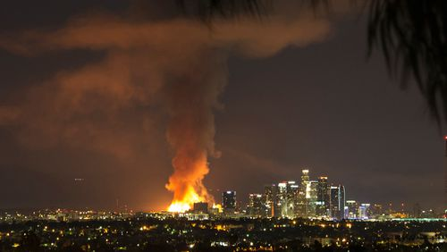 The fire was seen across the LA skyline. (AAP)