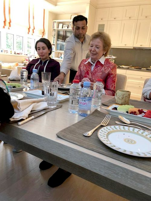 Sheikha Latifa bint Mohammed Al Maktoum eats a meal with former UN High Commissioner for Human Rights Mary Robinson.