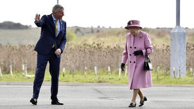 Britain's Queen Elizabeth II arrives for a visit to the Defence Science and Technology Laboratory (DSTL) at Porton Down, England, Thursday Oct. 15, 2020, to view the Energetics Enclosure and display of weaponry and tactics used in counter intelligence