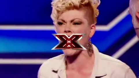 Audition from hell: Pink impersonator blasts X Factor UK judges in violent dummy spit