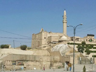 The shrine of Nebi Younis, or the tomb of Jonah, was rigged with explosives and destroyed by ISIS. (AAP)