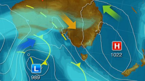 The system is set to bring decent showers, wind and rain to the south of Australia. (Weatherzone)