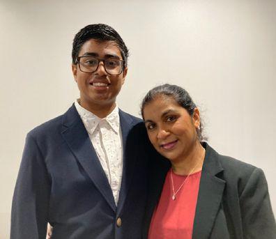 Praneel with mother Rita