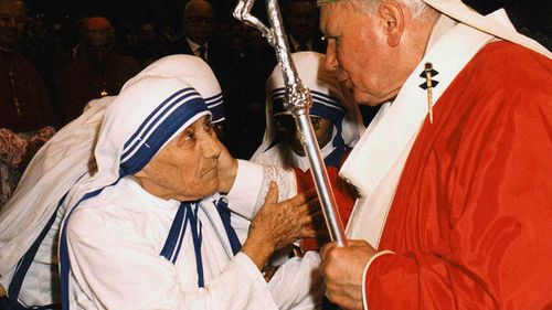 Mother Teresa with Pope John Paul II shortly before her death. (AAP)