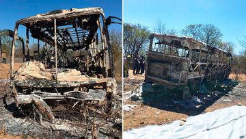 More than 40 have died and at least 20 injured, some with severe burns, after fire swept through a passenger bus in Zimbabwe.