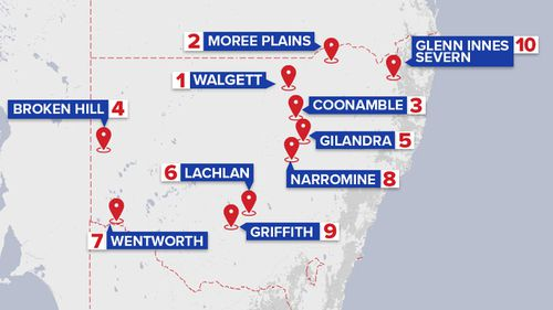The 10 towns named in new data as the worst in NSW for DV cases. (9NEWS)