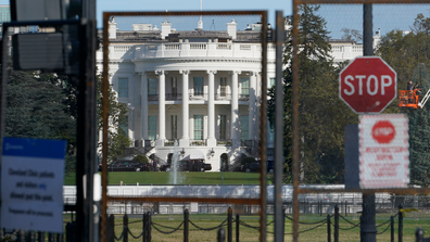 Security fencing surrounds the White House in Washington, Tuesday, Nov. 3, 2020, on election day. (AP Photo/Susan Walsh)