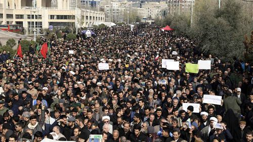 Mourners take to the streets in Tehran to mourn Qassem Soleimani and protest his assassination.