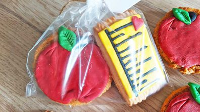 Apple and ruler decorated cookies for the teacher