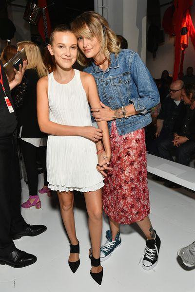 Millie Bobby Brown and Paris Jackson front row at Calvin Klein, New York Fashion Week, September 2017.