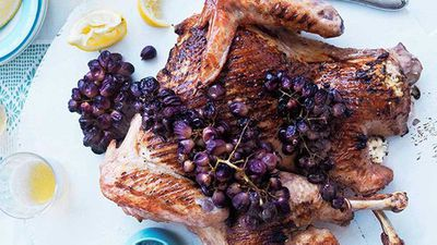 """<a href=""""http://kitchen.nine.com.au/2016/05/16/13/22/whole-barbecued-turkey-with-buffalo-ricotta-and-blistered-grapes"""" target=""""_top"""">Whole barbecued turkey with buffalo ricotta and blistered grapes</a> recipe"""
