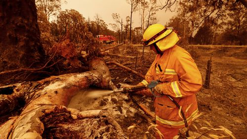 CFA fire crews put out spot fires on January 04, 2020 in Sarsfield, Australia.Evacuations Continue Across East Gippsland As State Of Disaster Is Declared