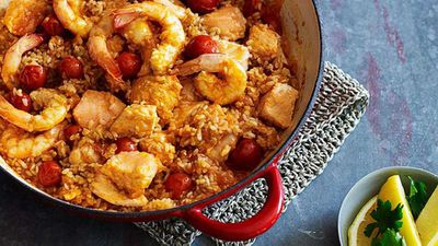 Seafood with tomato rice