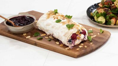 "Recipe: <a href=""https://kitchen.nine.com.au/2017/11/16/10/07/hayden-quinns-family-food-fight-meringue-roulade"" target=""_top"">Hayden Quinn's Family Food Fight meringue roulade</a>"