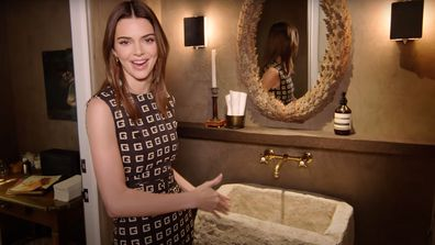 Kendall Jenner revealed the stone sink weighed 300 pounds [136 Kg].