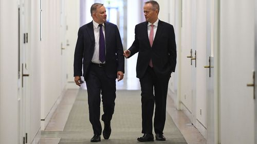 Anthony Albanese and Bill Shorten arrive for the Labor party Caucus meeting at Parliament House.