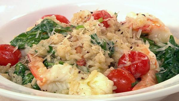 Prawn and spinach risotto